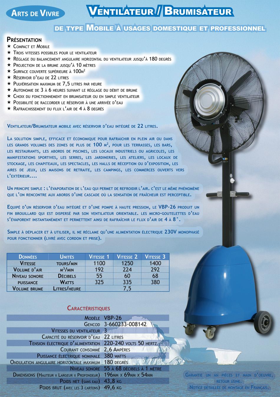 Ventilateur Brumisateur Autonome